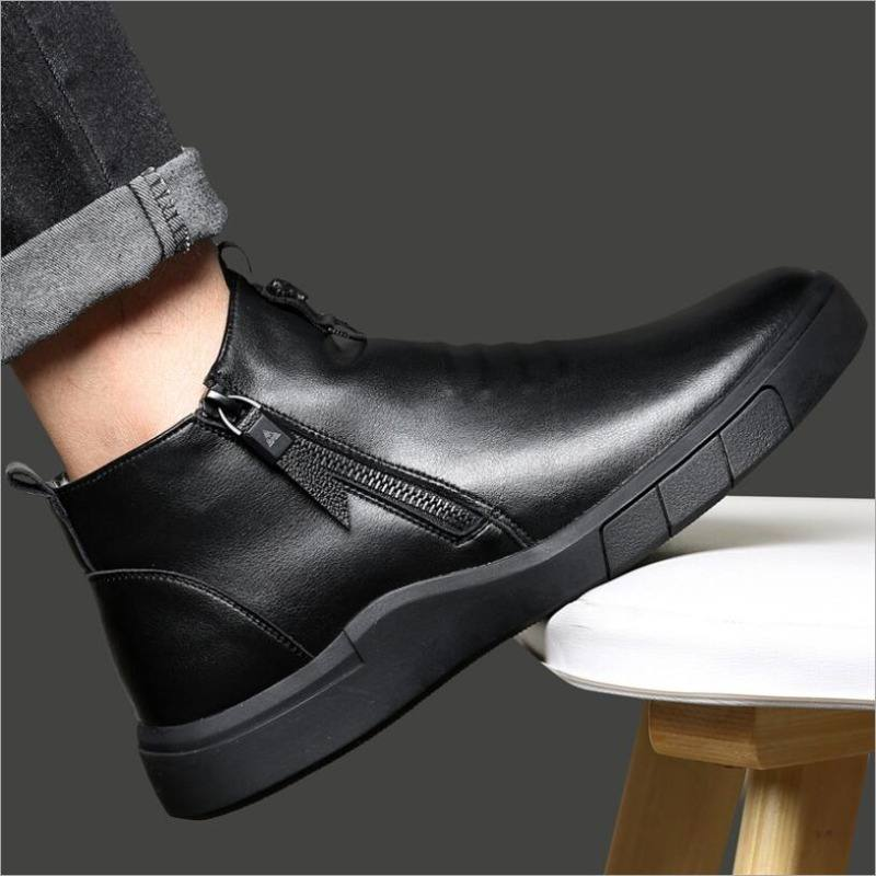 9020store CS809 designer men genuine leather shoes 100% wool lining winter super keep warm casual fashion ankle snow zapatos de hombre