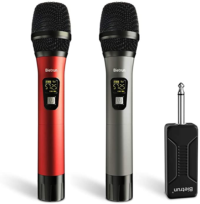 Wireless Microphone, UHF Wireless Dual Handheld Dynamic Mic System Set with Rechargeable Receiver, 260ft Range, 6.35mm(1/4'') Plug, for Karaoke, Voice Amplifier, PA System, Singing Machine, C