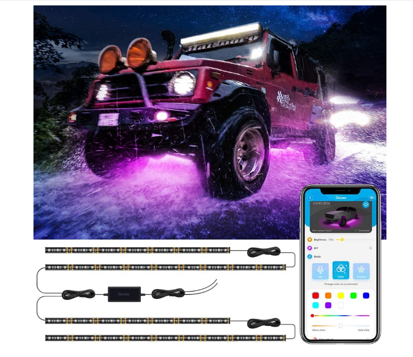 Car Underglow LED Lights, Govee Exterior Car Lights with Ultra Long 2-in-1 Design (2 x 47 inch + 2 x 35 inch), App Control Under LED lights for Car with 16 Million Colors, Sync to Music, DC 1