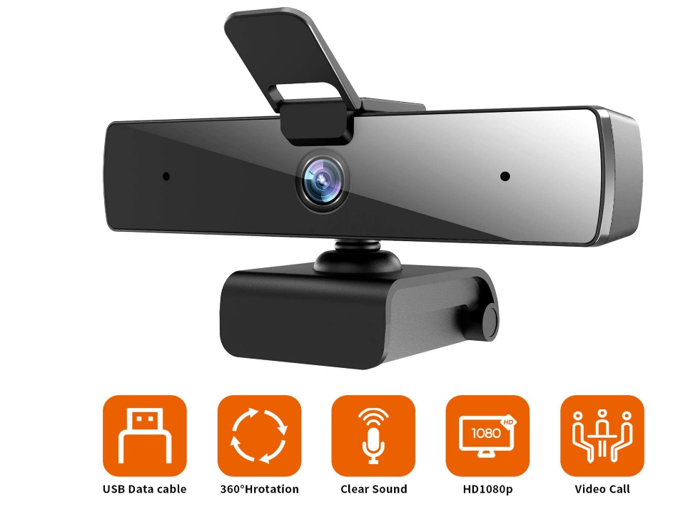 Webcam with Microphone(30fps), Full HD 1080P with Privacy Cover [Upgraded], Plug & Play Camera for Computer, Smart Tv, Laptop, Multi-Compatible, for Video Conferencing, Online Lessons and Str