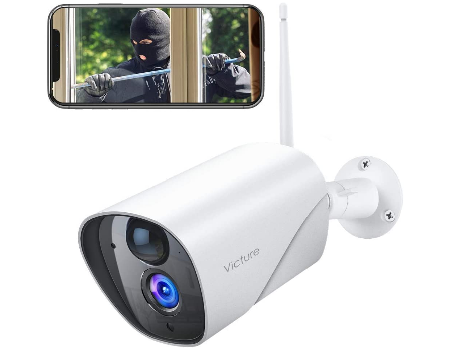 Victure Outdoor Security Camera 1080P IP65 Weatherproof Home Surveillance IP CCTV Camera 2.4G WiFi with Smart PIR Motion Detection/Night Vision/Two Way Audio Compatible with iOS & Android Sys
