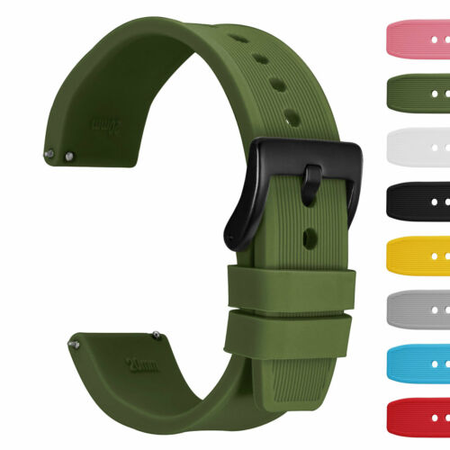 WOCCI 18 20 22 24mm Silicone Watchband Stripe Texture Rubber Strap Quick Release