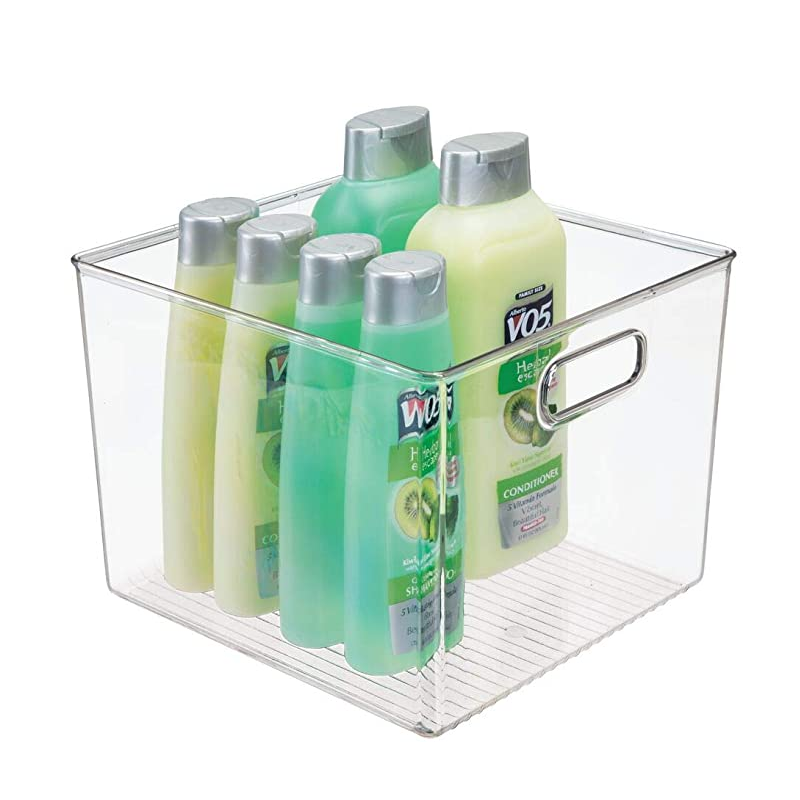 """9020store Deep Plastic Storage Bin Tote with Handles for Organizing Hand Soaps, Body Wash, Shampoos, Lotion, Conditioners, Hand Towels, Hair Accessories, Body Spray, Mouthwash - 7.5"""" High - C"""