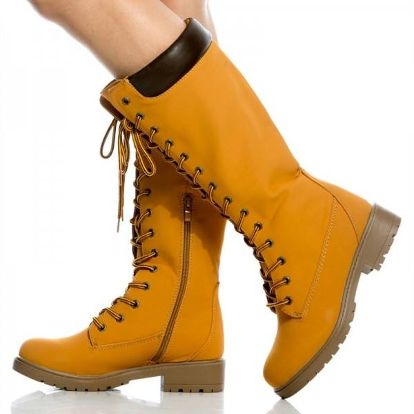 9020store Women's Mustard Lace Up Boots Retro Casual Mid Calf Flat Boots