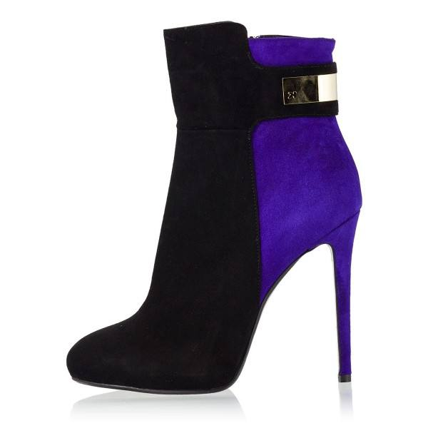 9020store Black and Purple Two Tone Suede Boots Stiletto Heel Fashion Booties