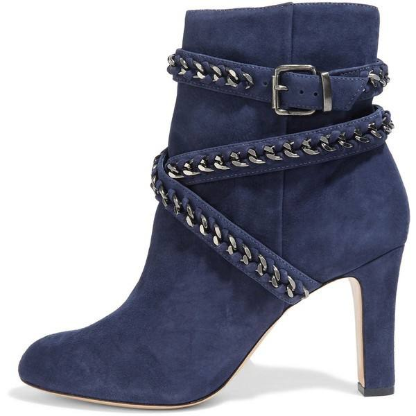 9020store Navy Ankle Booties Chain Strappy Suede Chunky Heel Short Boots