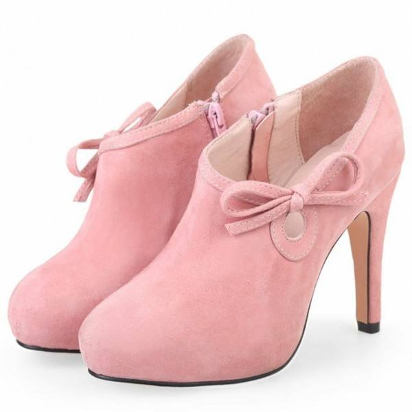 9020store Lovely Pink Heeled Boots Suede Cute Platform Ankle Booties wth Bow