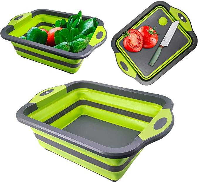 9020store Collapsible Cutting Board, Portable Washing Veggies Fruits Food Grade Camping Sink with Draining Plug and Multifunction kitchen scissors- Space Saving 3 in 1 Multifunction Storage B