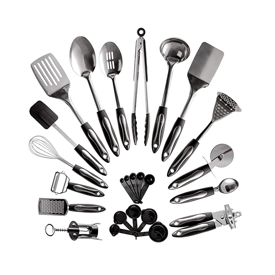 9020store 25-Piece Stainless Steel Kitchen Utensil Set   Non-Stick Cooking Gadgets and Tools Kit   Durable Dishwasher-Safe Cookware Set   Kitchenware Gift Idea, Best New Apartment Essentials
