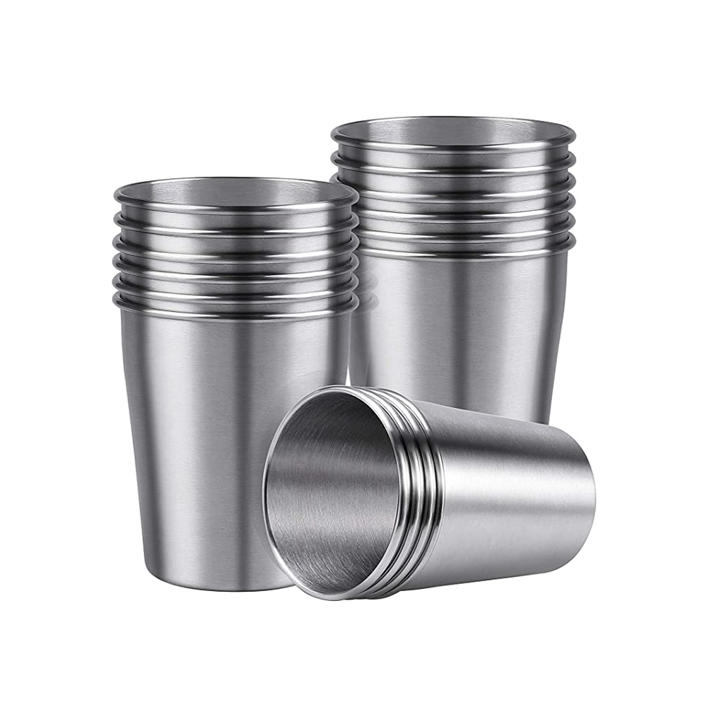 9020store 16 Pack Stainless Steel Cups Shatterproof Pint Cup Tumblers Metal Drinking Glasses for Kids or Adults (16, 10 oz)
