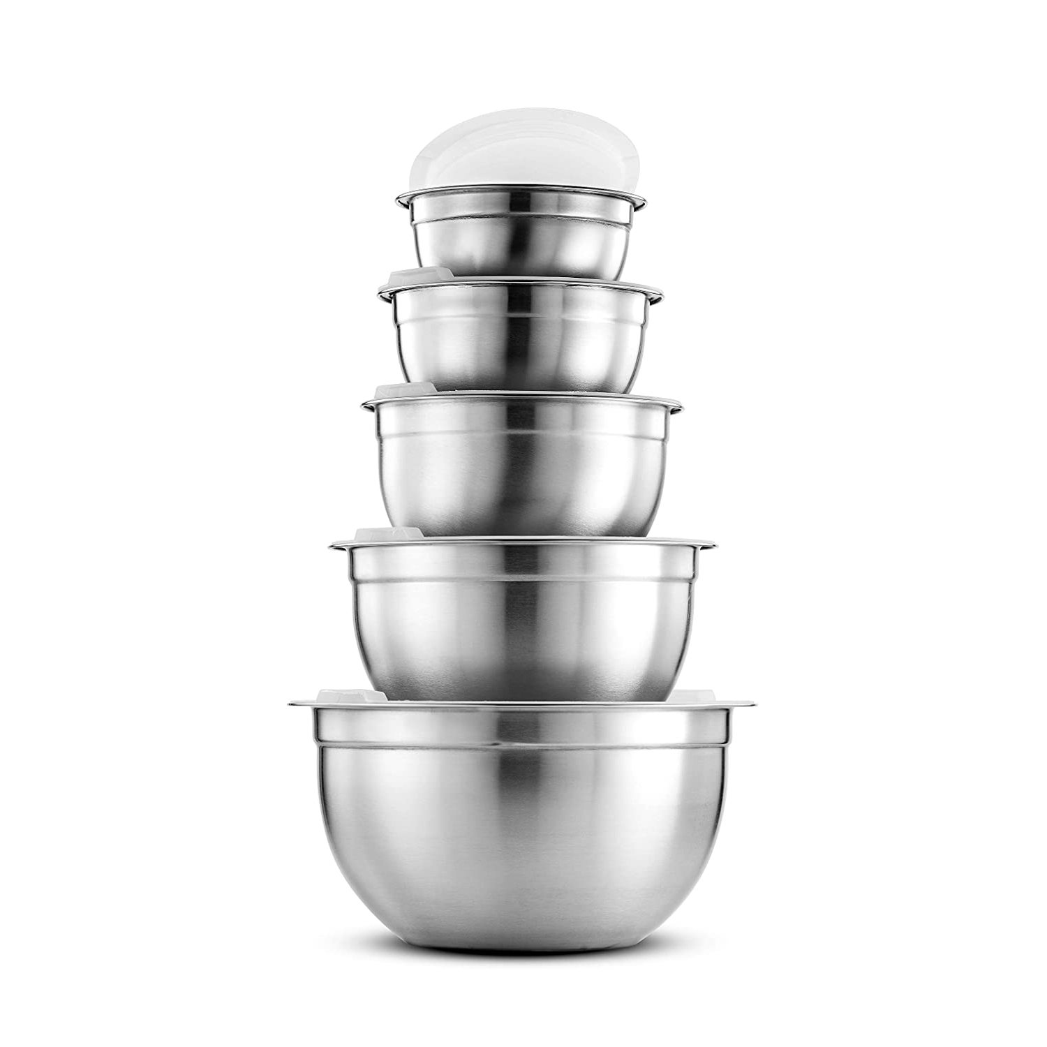 9020store Premium Stainless Steel Mixing Bowls with Airtight Lids (Set of 5) Nesting Bowls for Space Saving Storage, Easy Grip & Stability Design Mixing Bowl Set Versatile For Cooking, Baking