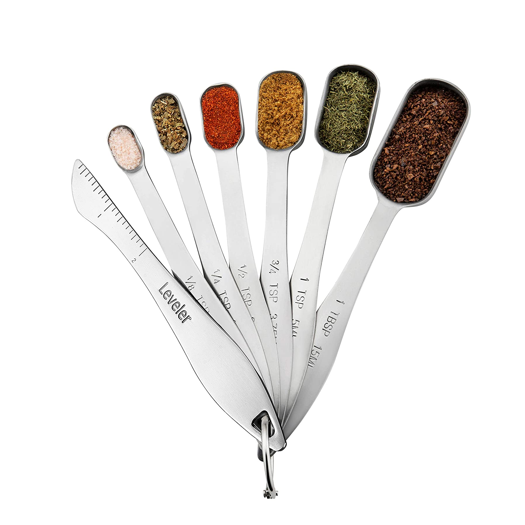 9020store Heavy Duty Stainless Steel Metal Measuring Spoons for Dry or Liquid, Fits in Spice Jar, Set of 6 with bonus Leveler