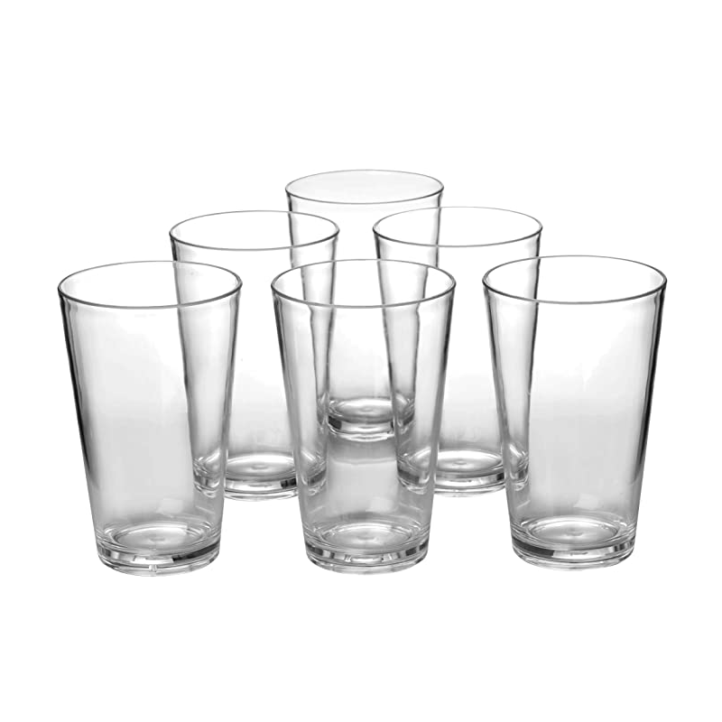 9020store Classic 18-ounce Plastic Tumblers Drinking Cups Dishwasher Safe BPA-free Clear set of 6 Premium Quality Dinner Glasses
