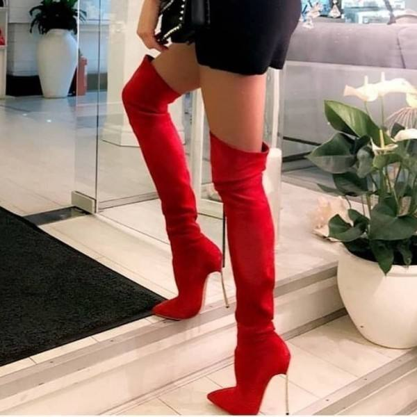 9020store Red Stiletto Heel Pointy Toe Thigh High Heel Boots