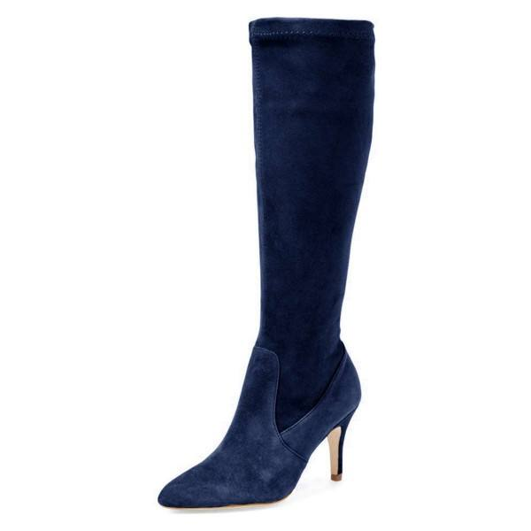 9020store Navy Suede Knee-high Stiletto Boots for Women