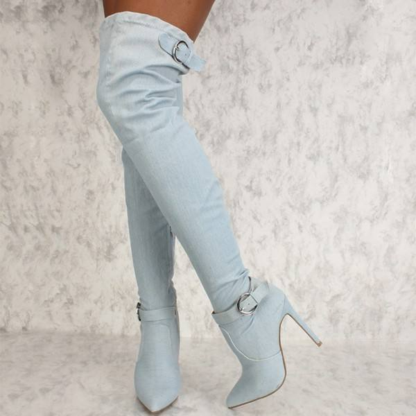 9020store Light Blue Denim Boots Stiletto Heel Over the Knee Boots