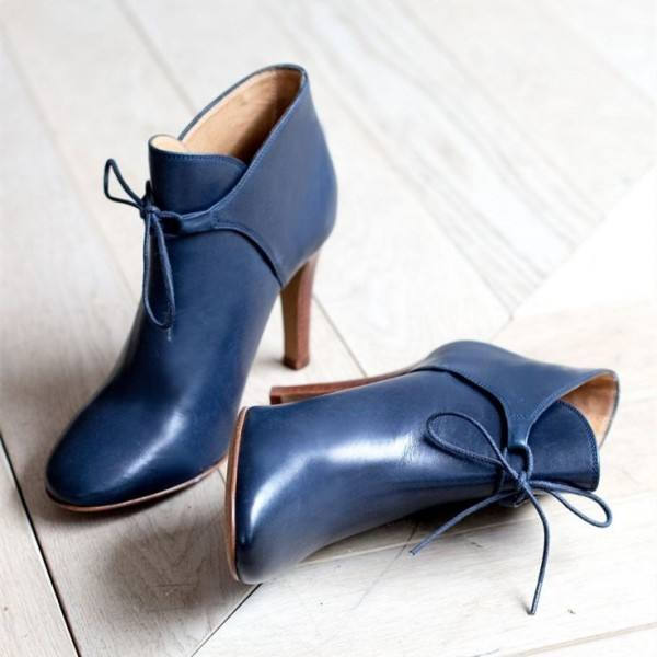 9020store Navy Blue Boots Round Toe Lace up Ankle Booties