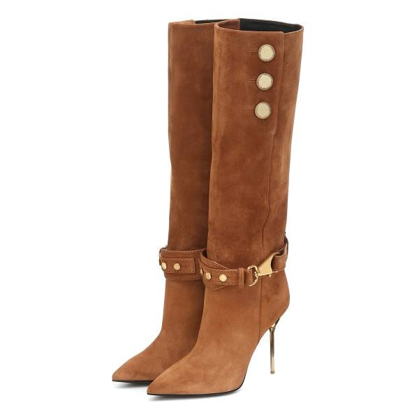9020store Tan Fall Boots Suede Calf Length Stiletto Heel Fashion Boots
