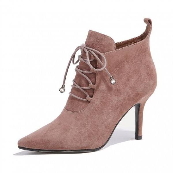 9020store Old Pink Suede Lace up Boots Pointy Toe Stiletto Heel Ankle Booties