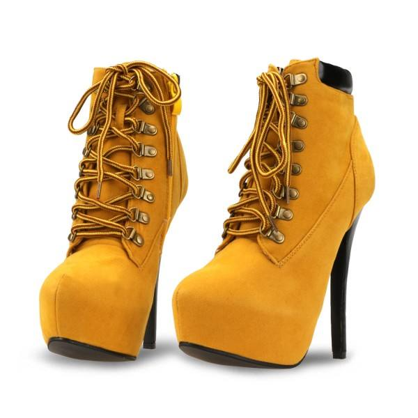 9020store Mustard Lace up Boots Stiletto Heel Platform Vintage Suede Shoes