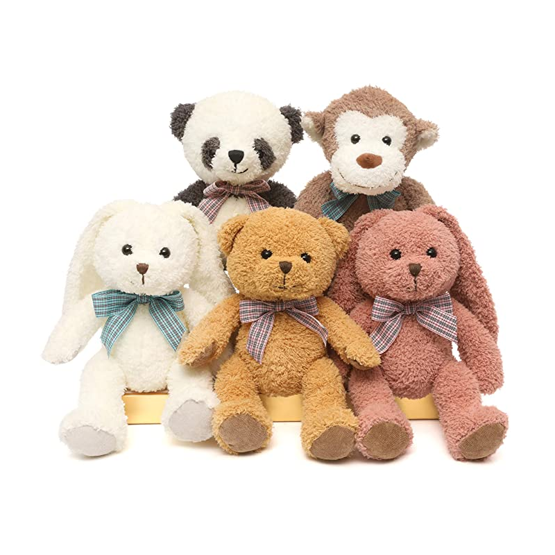9020store 5 Packs Soft Stuffed Animals Plush Cute Teddy Bear/Monkey/Panda/Rabbit Toy for Kids Boys Girls,as a Gift for Birthday/Christmas/Valentine's Day 12.5 inch (5 Packs,5 Colors)