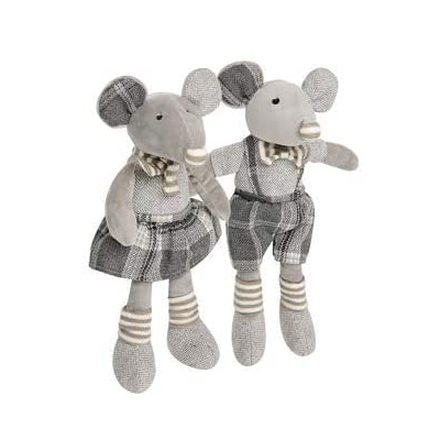 9020store Soft Stuffed Plush Girl and Boy Mice with Matching Grey Tweed Outfits