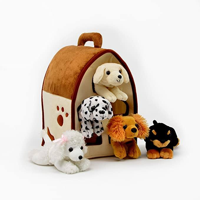 9020store Plush Dog House -Five (5) Stuffed Animal Dogs (Dalmation, Yellow Lab, Rottweiler, Poodle, Cocker Spaniel) in Play Dog House Carrying House