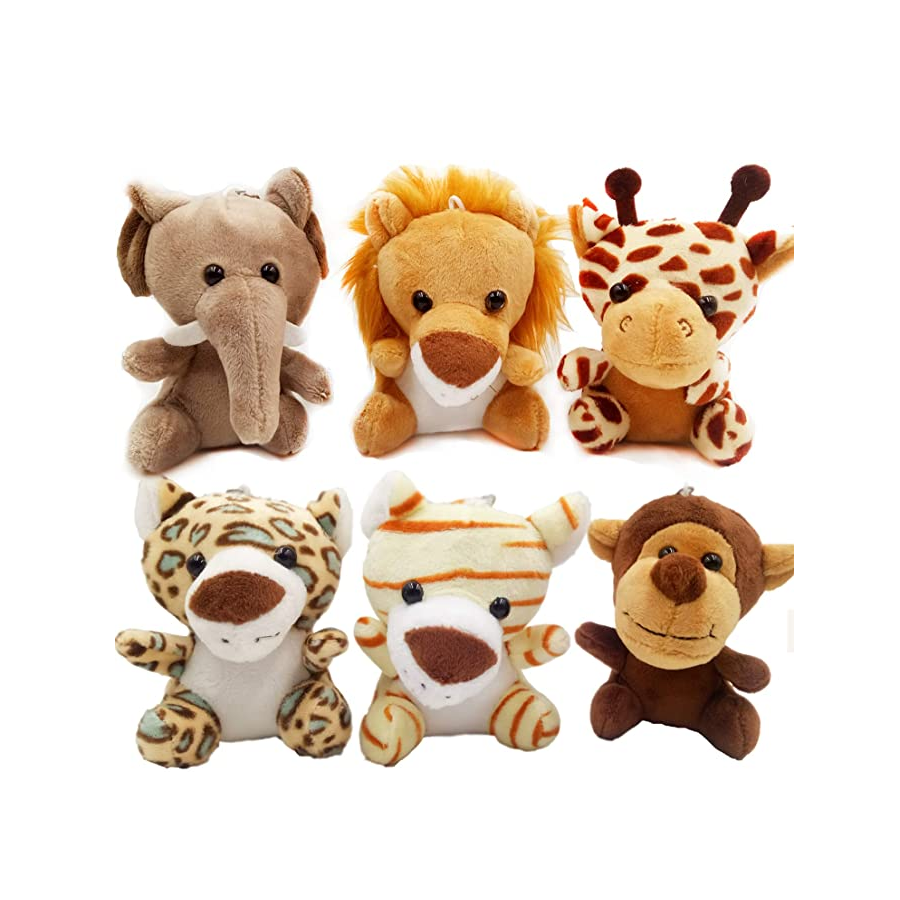 9020store 6pcs Jungle Animal Plush Toys Stuffed Animals Set - 4.8 Inch Cute Small Zoo Animals Plush Keychains for Kids Animal Themed Parties,Kindergarten Fun, Teacher Student Achievement Awar