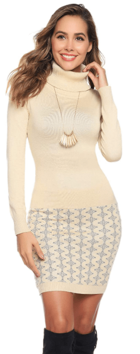 Amazon: Long Sleeve Cable Knitted Mock Turtleneck Sweater Dress for only $12 (Reg: $39.99)